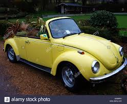 yellow volkswagen beetle royalty free yellow vw convertible car with plants growing inside stock photo