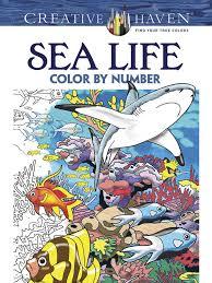 creative haven sea color number coloring book