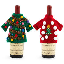 How To Decorate An Ugly Christmas Sweater - ugly christmas sweater wine bottle covers the green head
