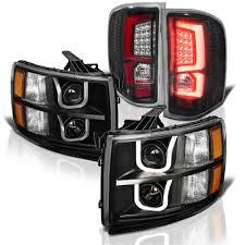2008 chevy silverado led tail lights chevy silverado 2007 2013 black led drl projector headlights custom