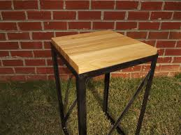 handmade minimalist butcher block end table by kingsland metal handmade minimalist butcher block end table by kingsland metal works custommade com