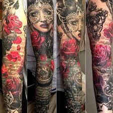 sleeves tribal skulls mechanical floral