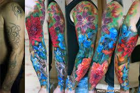 flowers sleeve tattoo by nikasamarina on deviantart