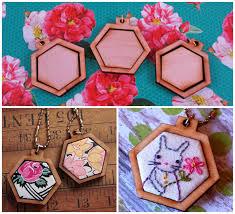 3 mini hexagon pendant embroidery blanks wood hexie frame