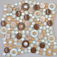 Glass Mosaic Tile Penny Round Stone Mosaic Kitchen Backsplash XF - Stone glass mosaic tile backsplash