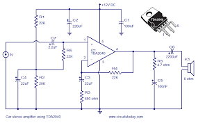 car amplifier circuit schematic using tda2040 integrated audio