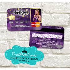 purple gold stars sweet 16 invitations credit card sweet fifteen