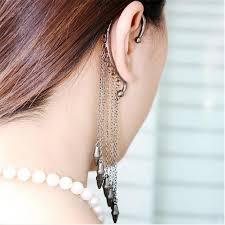 one ear earring 2018 trendy girl stylish rock rivet chain tassel dangle ear