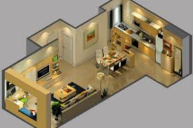 Two Bedroom Design Two Bedroom Suite Sectional View Of Interior Design 3d