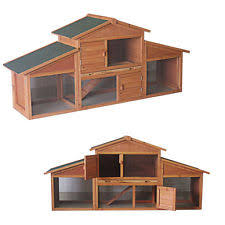 Rabbit Hutch With Detachable Run Double Rabbit Hutch With Run Ebay