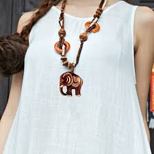 boho necklace wholesale images Boho jewelry ethnic style long hand made bead wood elephant jpg