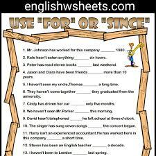 for and since esl printable grammar exercise worksheet for kids
