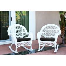 santa maria white wicker rocker chair with black cushion set of 2