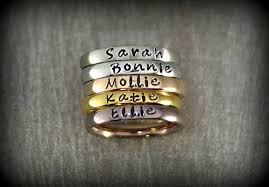 ring with name engraved personalized stackable name ring stacking rings