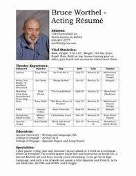 Resume Template For Actors by Beginners Actors Resume Beginning Actor Resume Sle Inside