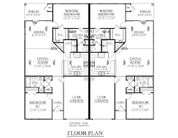 Garage Plan With Apartment by One Level Duplex Craftsman Style Floor Plans Duplex Plan 1261 B