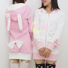 pink black white grey 4 colours thin fleece bunny hoodie long coat