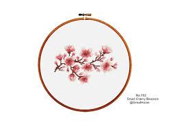 small cherry blossom cross stitch chart pattern pdf instant
