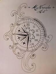sketch clock watch compass drawings pinterest compass