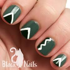 notd monochromatic geometric nail art black cat nails