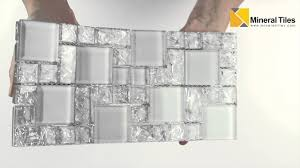 crackled glass mosaic tile french pattern ice 230hlm48192 youtube