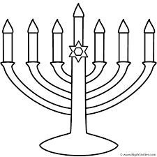 menorah with seven candles coloring page hanukkah