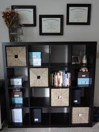 furniture dark ikea expedit bookcase with diagonal wicker basket