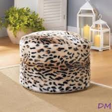 fuzzy snow leopard print pouf ottoman footstool ebay