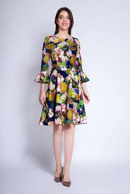 rochii de zi rochie de zi cu imprimeu floral corina bleumarin ama fashion
