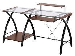 Metal Computer Desk Z Line Designs Brisa Glass Wood U0026 Metal Contemporary Computer