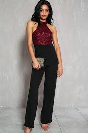 formal jumpsuit wine black sequins accent sleeveless formal jumpsuit