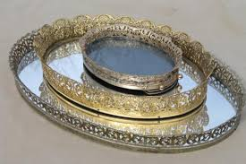 Mirrored Glass Vanity Gold Lace Filigree Vanity Tray Mirrors Mirrored Glass Perfume Trays