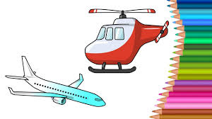 helicopter u0026 planes coloring pages colours for kids kids drawing