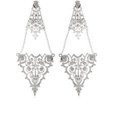 silver chandelier earrings lyst iam by ileana makri chantilly lace chandelier earrings in