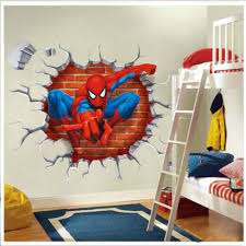spiderman bedroom decor cartoon spider man squatting 3d wall hole spider man diy kids room