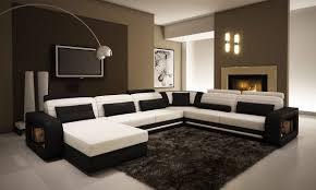 Living Room Design With Brown Leather Sofa by Amazon Com Ultra Modern Cream And Black Leather Sectional Sofa