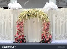 wedding backdrop outdoor beautiful flowers wedding backdrop on outdoor stock photo
