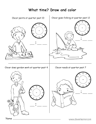 free quarter past the hour worksheets for 2nd graders