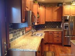 Faux Brick Kitchen Backsplash by Painted Backsplash Slate Subway Tiles