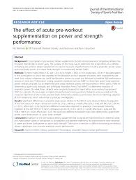 the effect of acute pre workout supplementation on power and