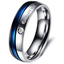 com red rings images Roses are red stainless steel blue silver promise proposal couple jpg