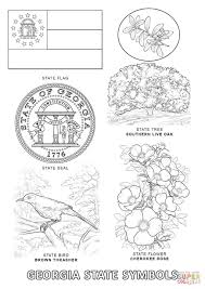 Georgia State Map by Georgia State Symbols Coloring Page Free Printable Coloring Pages