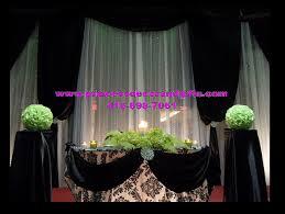 wedding backdrop mississauga black white decor damask print backdrop tables cake