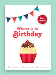 birthday party celebration welcome card or invitation card design