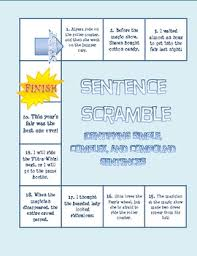 sentence scramble board game simple compound and complex sentences