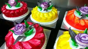 amazing different colourful cakes frosting and gel decoration