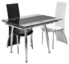 chair glass and chrome dining table chletty roun glass and chrome