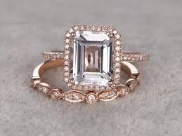 white topaz engagement ring 2pc 4ct big white topaz engagement ring set diamond wedding ring