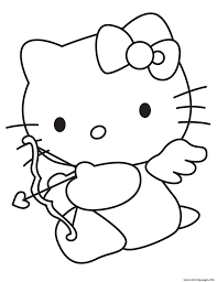 cupid kitty valentine s7903 coloring pages printable