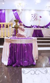 wedding backdrop linen purple backdrop for cake table cake table decorated with white